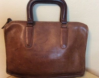 Vintage 19870s 1980s RARE Coach NYC Brown Mini Briefcase Satchel perfect size for a Tablet or iPad