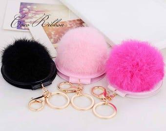 Oversized Fur Pom Pom Mirror Gold Alloy KeyChain Key Ring Chain With Clasp D25