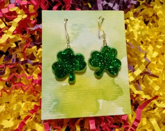 st patricks earrings, st patricks day earrings, st patricks jewelry, shamrock earrings, shamrock jewelry, clover, luck of the irish