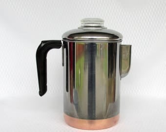 Vintage Revere Ware Stove Top Percolator 1801 Copper Clad Stainless Steel Rome N.Y.