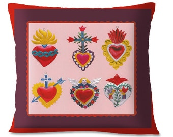 Mexican HEARTS Accent Pillow Cover - Southwest Decor - Mexican Decorative Throw - Ornaments - European Linen Backing
