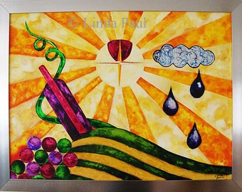 On sale! Art deco Style Wine Art Original Painting of Wine Bottles and Grapes by artist Linda Paul