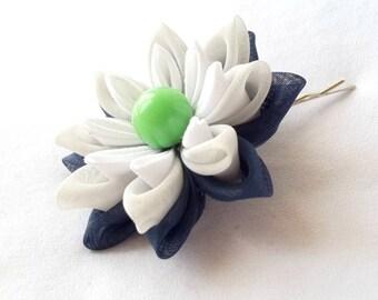 Navy and Lime Hair Flower Kanzashi Bobby Pin Water Lily Lotus Fiber Art