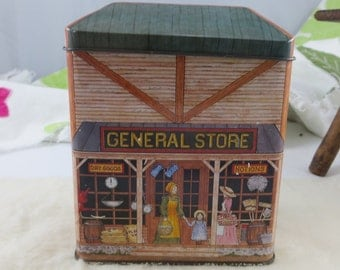 The Tinsmith's Craft General Store Tin Box Vintage Tin Box Container in General Store Theme