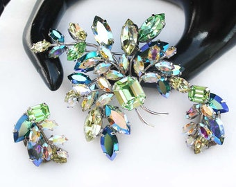 Vintage AUSTRIA Peridot, Jonquil, Emerald AB and Crystal AB Rhinestone Brooch and Earring Floral Demi