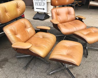 Matched Set of 2 Vintage 1960s Bentwood and Leather Chairs with Ottomans