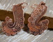 Floral Copper Hand Engraved Earrings Made From Beautifully Patinaed Reclaimed Copper - ReaganJuel: Mehndi13