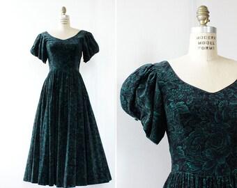 80s Dress S • Laura Ashley Dress • Sweetheart Dress • Green Velvet Dress • Tea Length Dress • Puff Sleeve Dress • Floral Maxi Dress | D1164