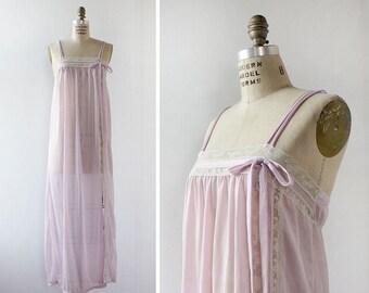 Vintage Nightgown • 70s Maxi Dress • Purple Lingerie • Long Nightgown • Lace Nightgown • Vintage Slip Dress • Purple Dress | D971