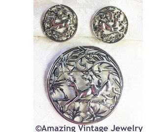 Sarah Coventry WOODLAND FLIGHT Pin & Earrings SET from 1958 * Silvertone * Deer Jumping in the Woods* Vintage *