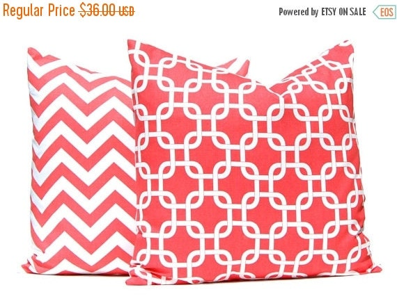 15% Off Sale Coral Pillow Covers - Coral Cushion Covers - 18 x 18 Pillow Covers - Coral Chevron Pillow Covers - Pair of Two Pillow Covers