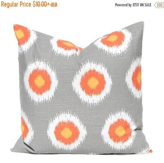 20% Off Sale Throw Pillow Covers - Gray and Orange Dots - Fall Decor - Orange Pillow Covers - Thanksgiving Decor - Fall Pillow Covers - Autu