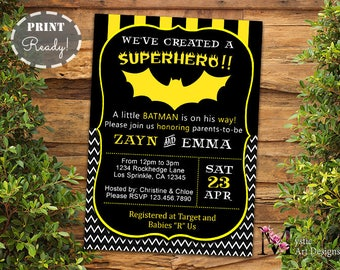 Batman baby shower etsy batman inspired baby shower invitation boy baby shower printable customized superhero shower stopboris Image collections