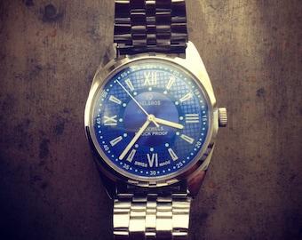 SALE Vintage Helbros Steel Swiss Blue Watch