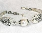 Silver Spoon Bracelet, White Pearls, Silverware Jewelry, Jubilee 1953