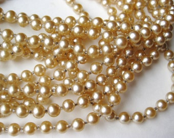 "Vintage 40s Miriam Haskell Style Baroque Glass Pearl 174"" Super Long Flapper Girl Necklace"
