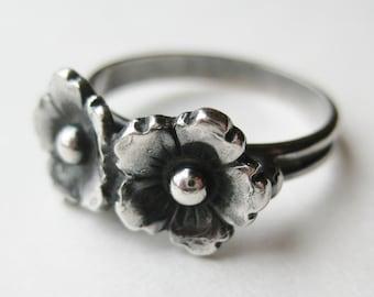 Vintage Ring Niels Erik NE From Danish Sterling Silver Floral Band Ring size 6