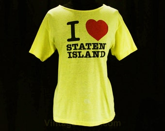 Large T Shirt - I Love Staten Island Vintage 1980s Tee - Bright Yellow Cotton Knit - I Heart - Scoop Neck - Size 12 to 14 - Bust 42 - 47647