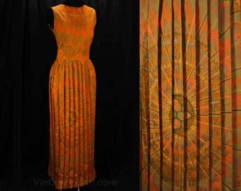 Size 10 Swedish Dress - Bold Orange 60s Sun Dress - 1960s Summer Medallion Print Metallic MCM Cotton - Almedahl Sweden - Bust 36.5 - 48505