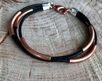 Multiple strand leather antique copper bracelet