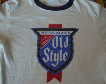 Vintage OLD STYLE Beer Heileman's Ringer punk rock soft thin T Shirt Adult size S