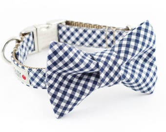 Navy Blue Gingham Bowtie Dog Collar