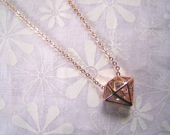 Caged Crystal Pendant Rose Gold Necklace