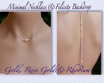 Rose Gold Backdrop Pearl Necklace, GOLD & Rhodium Necklace, Minimal Backdrop Necklace, Long Back drop Necklace, Bridesmaids Necklace, FLISS