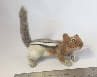 Baby Golden-mantled Ground Squirrel Life-sized Needle Felted Pet on Magnet