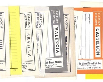 10 Assorted Spanish shipping LABELS - Vintage blank shipping forms from Spain