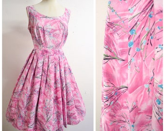 1950s Pink & blue cherry blossom print full skirt day dress / 50s printed pastel floral summer dress - L
