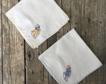 Vintage Child's Handkerchief, embroidered, 1940s