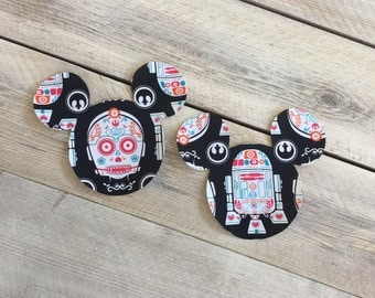 Star Wars Inspired Comic Iron On Mickey Applique DIY C3PO R2D2 Sugar Skulls Day of the Dead