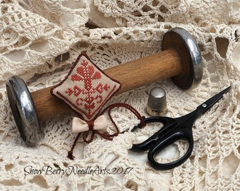 Quaker Flower Cross Stitch Scissor Fob
