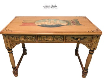 Nautical Desk Painted Sailing Ship Hand Painted Wood Table Writing Desk