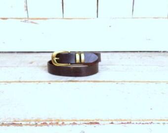Vintage skinny dark brown leather belt/boho belt/medium