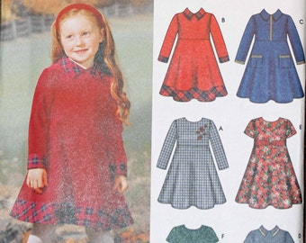 Girls Toddler Kids Size 3 4 5 6 7 8 Simplicity 5827 6 Dresses Made Easy Dress Short Long Sleeve  Child Sewing Pattern Sew Uncut