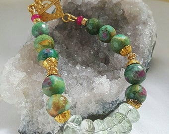 25% Off Spring Sale Ruby in Fuschite Prasiolite and Pink Ruby Bracelet Gold Vermeil Toggle Clasp