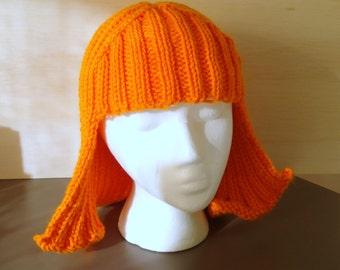 Bright Orange Hat Hair Knit Wig Yarn Wig Halloween Anime Hair