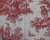 Vintage Four Red & White Toile Fabric Scraps Country French Cottage Style Decor Cotton