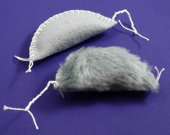 Furry Catnip Mice, Cat Mouse Toys, Fake Fur Catnip Mice, Faux Fur Catnip Mice, Felt Catnip Mice, Grey Mouse Toys, Durable Cat Toys (2 pack)