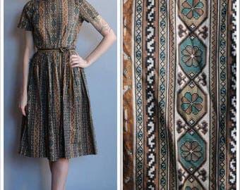 1960s Dress // Stacy Ames Needlepoint Print Dress // vintage 60s dress