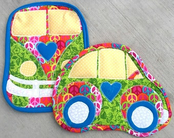vw, camper, car, hot pad, pot holder, green, blue yellow, peace, quilted, van, camping, kitchen, cooking
