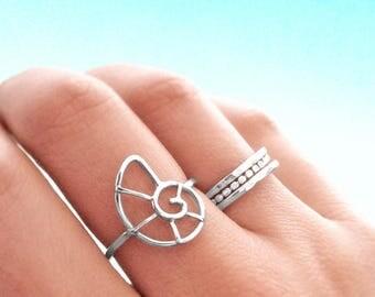 Nautilus Shell Ring - Sterling Silver - Nautilus Shell Jewelry - Coastal Jewelry - Beach Jewelry - Resort Jewelry - Beach Ring