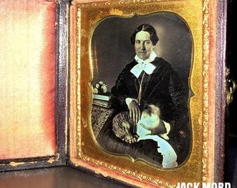 Amazing & Rare 1850s Daguerreotype Photo CAT LADY and Gold Eyed Tabby