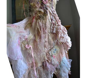 Wonderful Unique Art To Wear Pale Pink Dress PEARLY CINDERELLA  Boudoir Doll Fairy Wedding Romantic Old Doilies Antoinette Boho Tattered