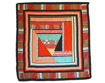 DESIGNER SCARF Cisil European Floral Embossed Silk Abstract Geometric Aqua Peach Red Black White 41 x 44 in Excellent Condition Dry Cleaned