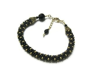 Black and Gold Kumihimo Bracelet