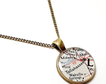 Tallahassee Map Necklace. Tallahassee Necklace. Made From A Real 1951 Vintage Map. Ready To Ship. Florida Map Pendant Jewelry. Mother's Day