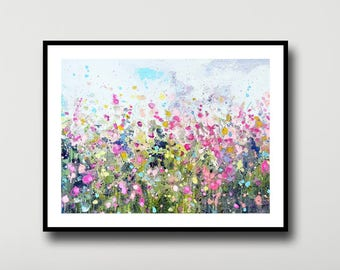 Floral Print, Flower Meadow, Large Giclee Print from Painting, Wall Art, Abstract Meadow Print, pink, green, purple, white